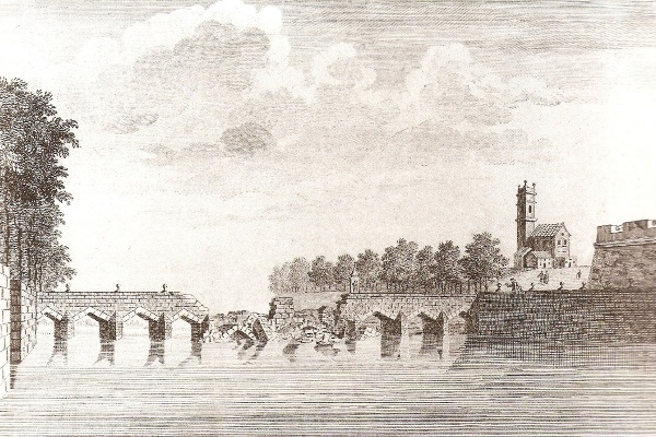 Làmina Cavanilles del desbordament del Túria de 1776 a València.
